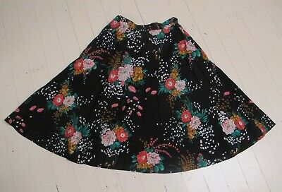SKIRT 70s Vintage black Floral Permanent pleat Knee length Circle Retro skater