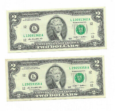 Two Dollar Bill, $2 Note (2009) Paper currency with L (San Francisco) USED