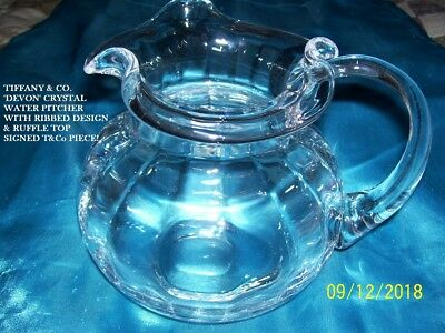 """Tiffany & Co. Devon Crystal Water Pitcher - Ribbed W/ruffle Design 6 1/2"""" Signed"""