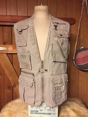 Vtg L Banana Republic Photographers Vest Safari Picker BugOut Prepper Old School