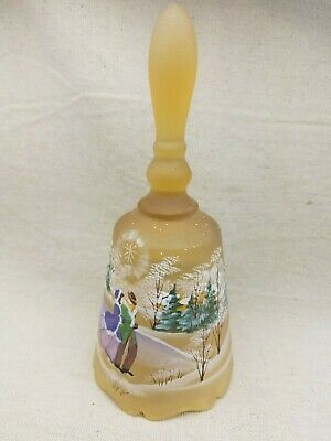 Vintage Fenton Christmas Scene Bell Hand Painted 1996