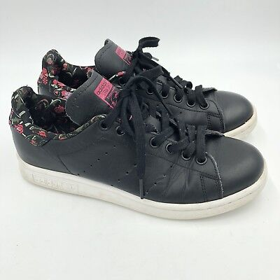uk availability def43 3d53c ADIDAS ORIGINALS STAN Smith Floral Black Leather Rare Women's 6.5