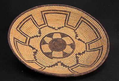 "Antique c 1900 Arizona Apache Indian Basketry Tray 11 1/2"" x 2""  Mint cond."