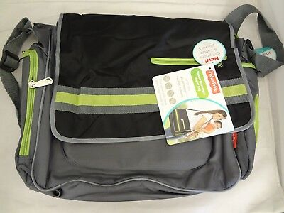 671d176ffe78 FISHER PRICE DELUXE Messenger Diaper Bag Fastfinder Pocket System - Green