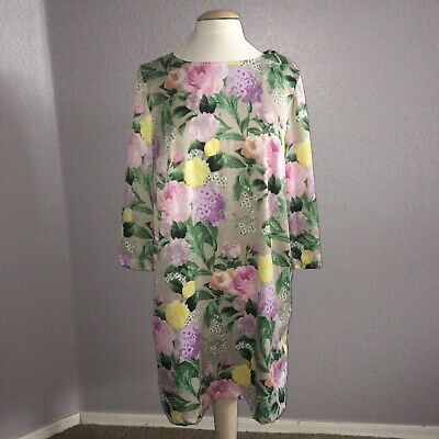 5cbc36b42fc0 H&M 3/4 Sleeve Spring Summer Floral Knee Length Dress Women's Size 14