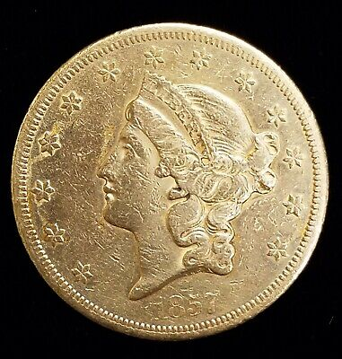 1857-S $20 Liberty Head Double Eagle Type 1 Gold Coin in VF/XF Condition
