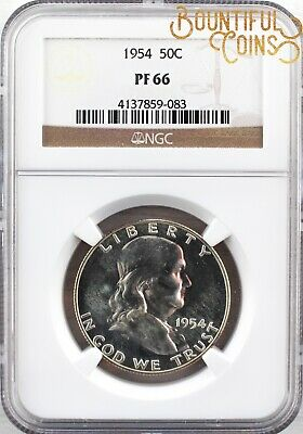 ~1954 NGC PF 66 Franklin Half Dollar 50C Proof PR Fifty Cents 50C (L170)~