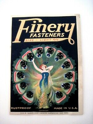 Lovely Card of Fasteners w/ Lady Wearing a Peacock Dress w/ Snaps on Each Wing *