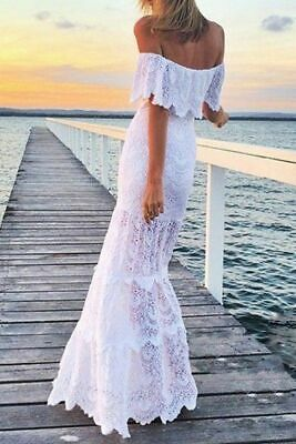 Boho Off Shoulder Wedding Dress Lace White Beach Gown Party Evening Long Dresses
