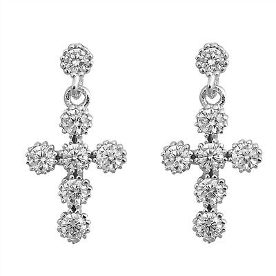 Spark Cross Dangle CZ Stud 925 Sterling Silver Post Earrings
