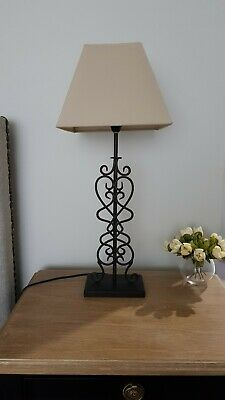 French Provincial Hamptons Style Wrought Iron Bedside Table Lamps