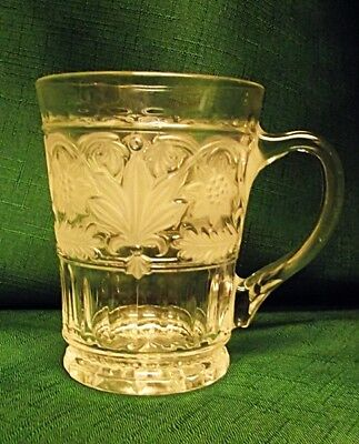 BEAUTIFUL Mikasa Crystal Glass Floral Trellis Mug Cup Stein Frosted