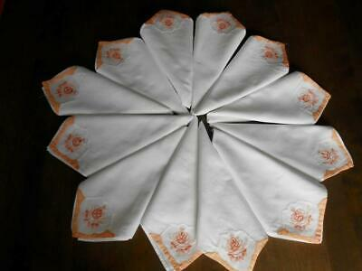 SET 12 MADEIRA WHITE LINEN NAPKINS Pink Peach Flower Embroidery VINTAGE
