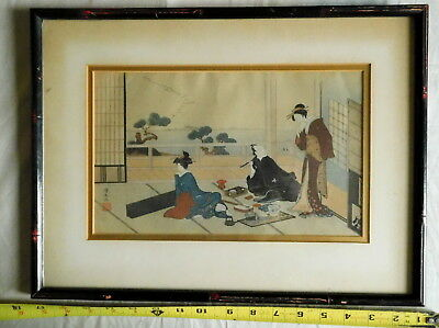 Original Kiyonaga Torii  woodblock print Entertainment Japanese Tea Ceremony