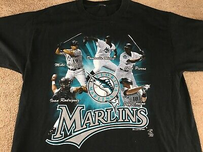 1df0fdba128 Vintage Florida Marlins Shirt 2003 Roster Baseball Miami MLB Black jersey  hat
