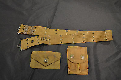 Wwii Usa Gi Named  Dated 1942  Pistol Belt Rig  , Clip Pouch, First Aid Pouch