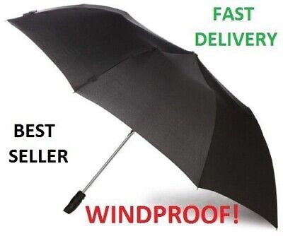 Classic Large Mens Black Automatic Open Strong Cane Windproof Stick Umbrella