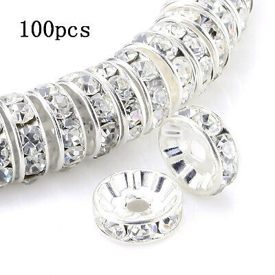 100pcs Rondelle Spacer Beads 8mm Czech Crystal Silver Plated Clear Rhinestone