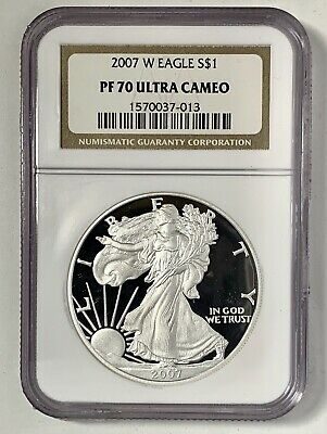 2007-W Proof $1 American Silver Eagle NGC PF70 Ultra Cameo Brown Label