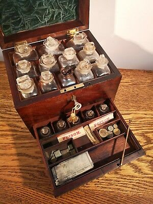 Fabulous Highly Collectible Victorian Mahogany Apothecary Chest & Contents