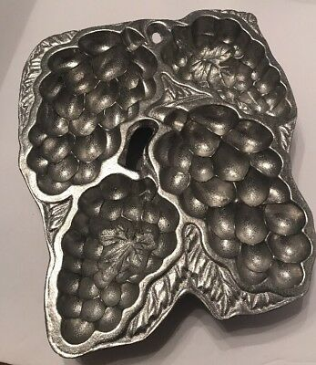 Vintage Rwp The Wilton Co Pewter Grape Vine Mold Cast Muffin Gelatin Candy