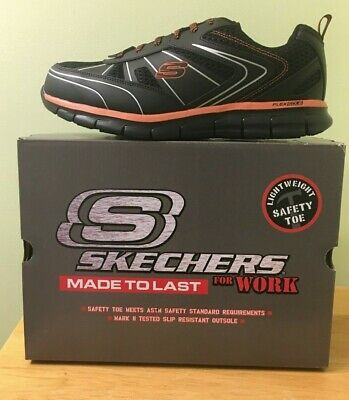 ff5f4f78d65 SKECHERS SYNERGY-FOSSTON MENS Black/Orange SAFETY TOE Work Shoes Size 11.5