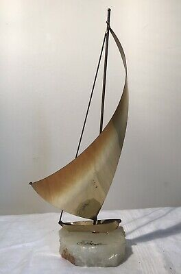 MCM Brass Sailboat On Quartz Base Signed DEMOTT
