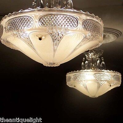 333 Vintage 40s Glass Ceiling Light Lamp Fixture Chandelier Re-Wired soft pink
