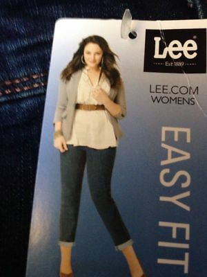 f1bdb148 Womans Lee Easy Fit Dallas Crop Jeans Size 24W M Whiskered Nwt $50 Curvy