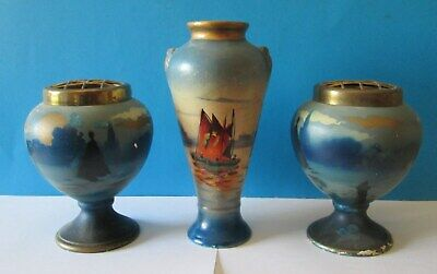 Antique Watteau Pottery ? Made In England Vases Urn Hand Painted