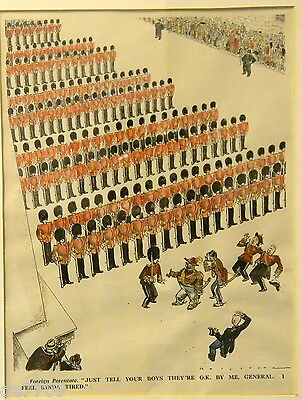 Foreign Potentate Reviews Brigade of Guards Punch1933 Hand Colored Litho