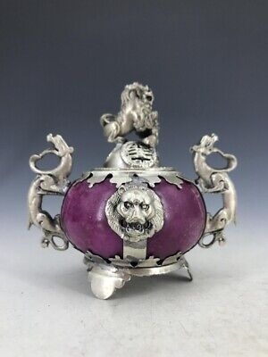 Chinese antique incense burner outsourcing Tibet silver carving gods and beasts.