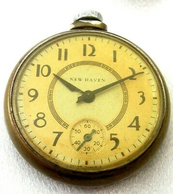 LOOK! New Haven Antique Pocket Watch Open Face Art Deco 12s!