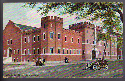 CHELSEA MASSACHUSETTS MA State Armory People Old Car ca 1910's Postcard PC