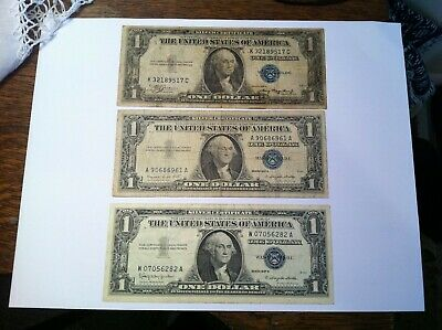 1935 A + 1957 A B Silver Certificate Dollar Lot, USA $1 Group Blue Seal