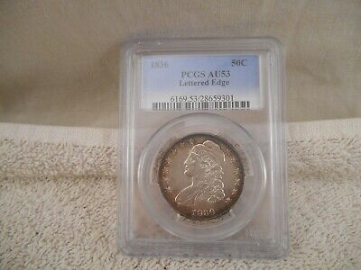 1836 PCGS AU53 CAC Capped Bust Half Dollar Lettered Edge (Toning on outer edge)