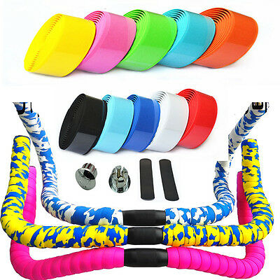 1 Pair Road Bike Cycling Sports Bicycle Cork Handlebar Wrap Tape + 2 Bar Plugs