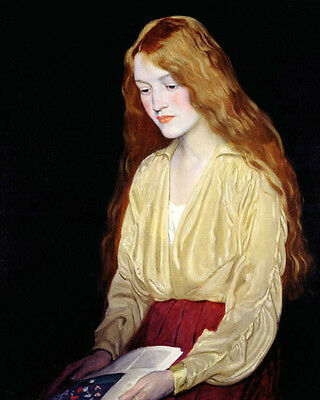 Oil painting William Strang Scottish Portrait Of Cynthia girl book Hand painted