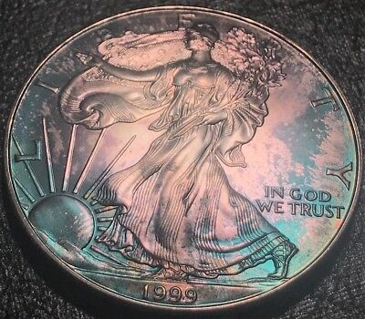 1999 TONED American Silver Eagle Toning ASE One 1 Oz. Ounce .999 Dollar UNC