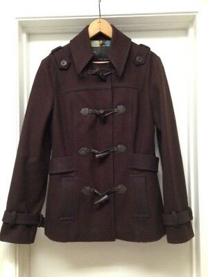 910465f08 TED BAKER Brown Wool Peacoat Toggle Button Jacket Coat Women s Sz 2 EUC