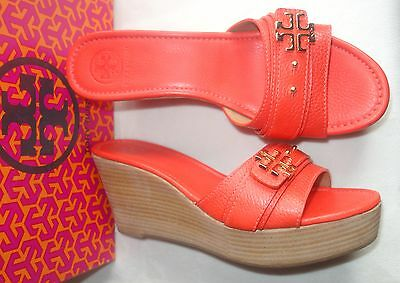 f9ff5c2ccaeea TORY BURCH ORANGE Patent Leather Slide Wedge Sandals Sz~10.5 ...