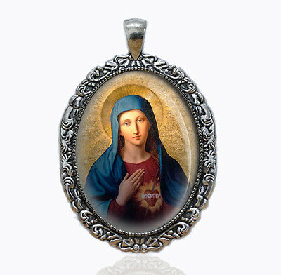 Immaculate Heart Mary Vintage Religious Catholic Medal Pendant Jewelry Charm