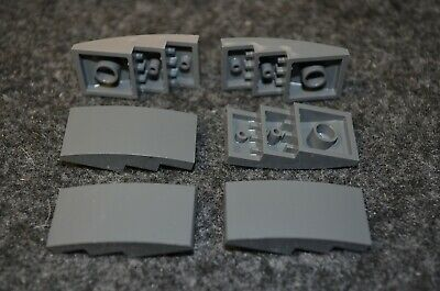 6 Black 4x2 Rounded Top Low Profile Bow Tile Bricks ~ Lego ~ NEW ~ Castle