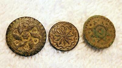 Lot of 3 Antique Early American Colonial Buttons Star Design Dug 1700-1800 CR