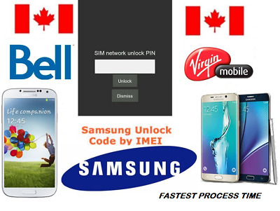 Bell / Virgin Unlock Code Available for All Samsung Models (S,J,NOTE ALL SERIES)