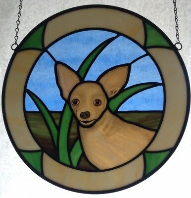 Dog Stained Glass Panel,Chihuahua Dog Stained Glass,Custom Stained Glass Window