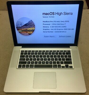 """15"""" 2011 Apple MacBook Pro 2 Ghz i7 4GB RAM 500gb HDD Charger Bundle Works Great"""