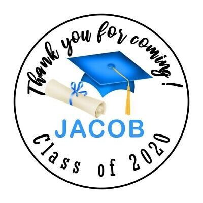 "30 Graduation Cap 2019 Thank you for coming 1.5"" Round Labels Lollipop Stickers"