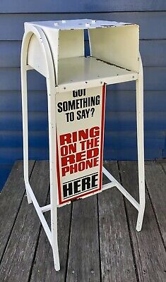 VINTAGE RETRO 1970s RED PAYPHONE METAL STAND BASE PAY TELEPHONE P/Up COBURG MELB