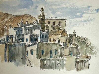Watercolour of Cora, Greek Island Kythera by Lt-Cdr HUGH KNOLLYS Naval artist